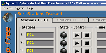 Click to view Dynasoft Cybercafe SurfShop Free screenshots
